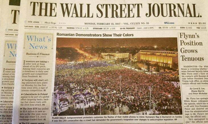 Bravo, Romania! Prima pagina in Wall Street Journal! Poza cu